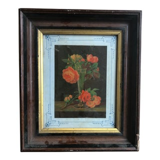 Traditional Orange Flowers in Glass Vase Painting For Sale