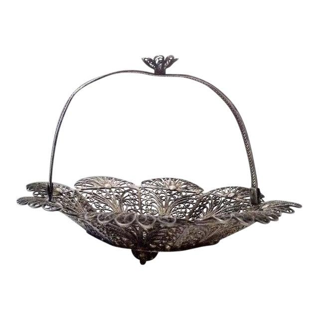 Lovely Doll's Silver Filigree Handled Basket For Sale