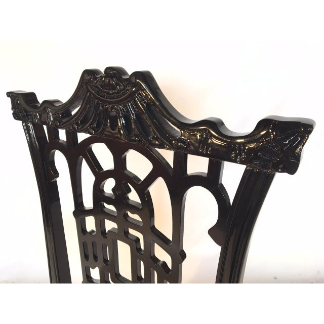 Black Lacquer Asian Chinoiserie Pagoda Dining Chairs - Set of 4 For Sale - Image 9 of 11