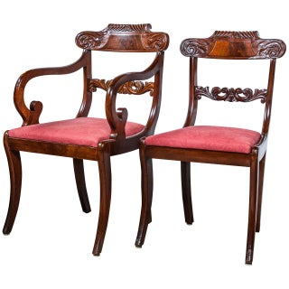 Set Eight English Regency Dining Chairs 19th C. Solid Mahogany Scroll Carvings For Sale