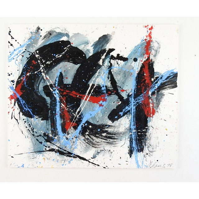 Abstract Abstract Expressionist Painting on Paper For Sale - Image 3 of 4