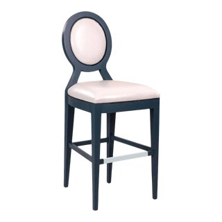 Bastille Bar Stool in White Vinyl For Sale