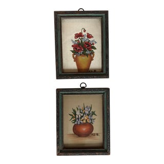 Original Pair 1930's Vintage Miniature Still Life Paintings For Sale