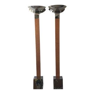 Nickel & Exotic Wood Deco Floor Lamps - A Pair
