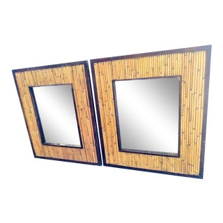 Vintage Split Bamboo Reed Wood Wall Mirrors- a Pair For Sale