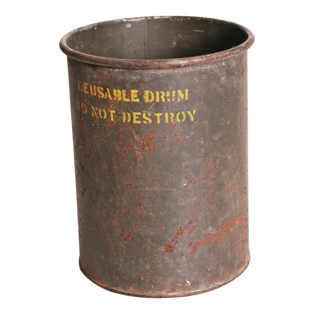 Vintage Industrial Green Metal Military Can - Image 1 of 11