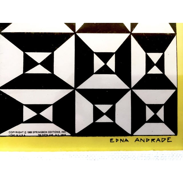 """Edna Andrade Rare Vintage 1969 Mid Century Modern Framed Op Art Lithograph Print """" Black Diamond """" 1967 For Sale - Image 11 of 13"""