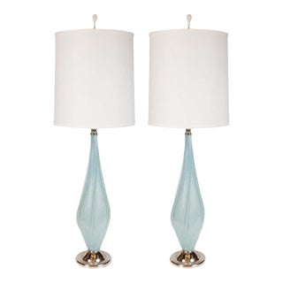 Light Blue Murano Table Lamps with Chrome Fittings by Seguso - a Pair For Sale