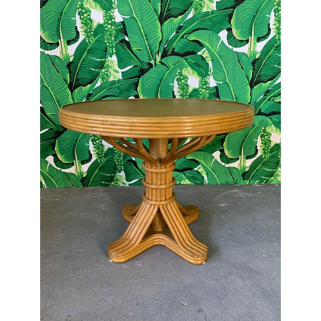 Wood Vintage Rattan Dining Set Table and Four Chairs For Sale - Image 7 of 10