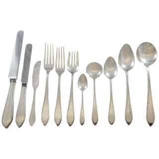Feather Edge by Tiffany Sterling Silver Flatware Service 8 Set 93 Piece Dinner For Sale