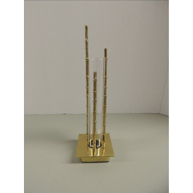 Vintage Faux Bamboo Brass Vase - Image 2 of 4