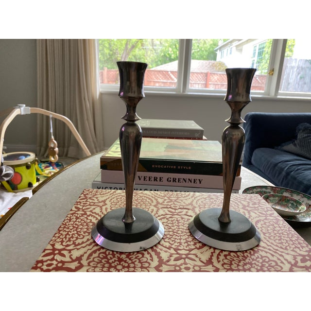 Mid-Century Modern Mid-Century Metal and Stone Candlesticks - a Pair For Sale - Image 3 of 9