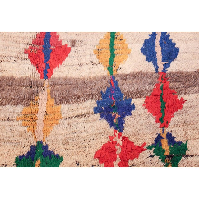 Textile Mid-Century Vintage Folk Art Moroccan Rug - 4′9″ × 10′4″ For Sale - Image 7 of 10