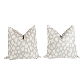 Linen Leopard Leokat Pillows, a Pair For Sale