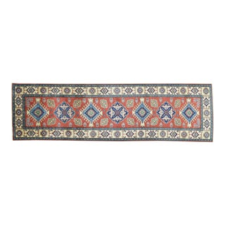 Red Hand-Knotted Geometric Design Runner- 2′10″ × 9′10″ For Sale