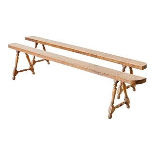 French Oak Farmhouse Harvest Table Benches - a Pair For Sale