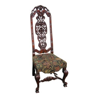 Late 19th Century Carved Tall Back Flemish Style Chair For Sale