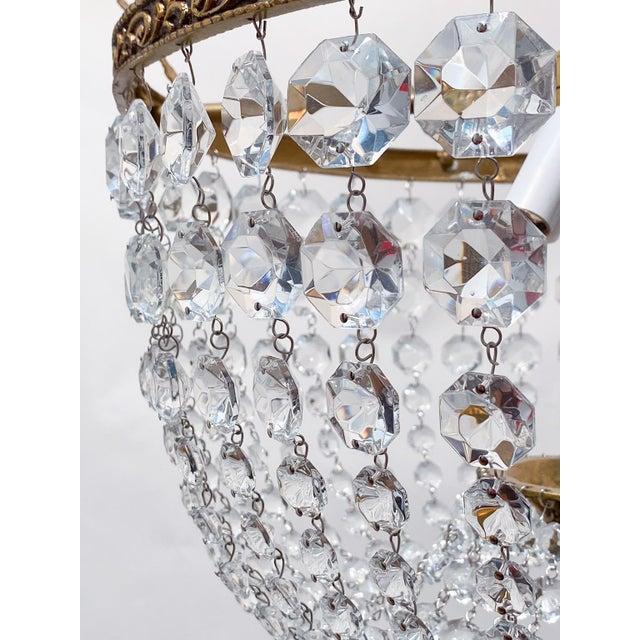 Italian Brass Basket Chandelier For Sale - Image 4 of 5