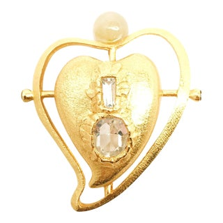 Heart Brooch With Encrusted Central Crystals and Top Resin Sphere For Sale