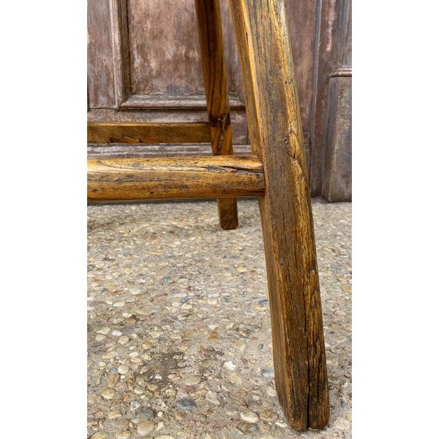 English Saddle Seat or Farm Stool of Elm For Sale - Image 12 of 13