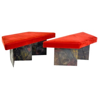 Paul Evans Sculpted Steel Benches - a Pair For Sale