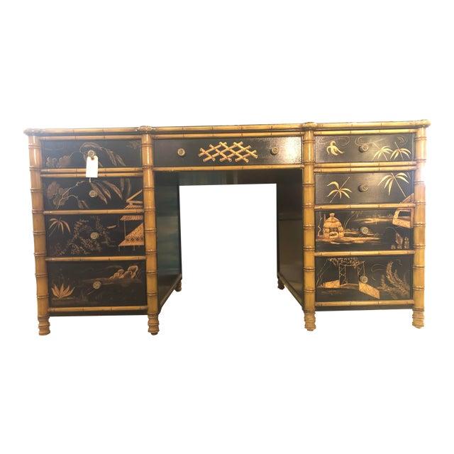 Regency Faux Bamboo Double Pedestal Partners Desk For Sale