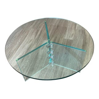 Vintage Contemporary Glass Coffee Table For Sale