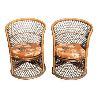 Vintage Mid Century Wicker Barrel Chairs- A Pair For Sale