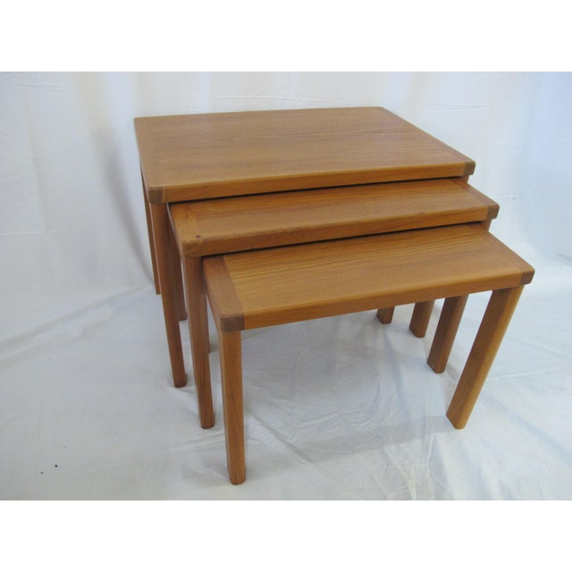 1960s Mid Century Modern Vejle Stole Mobelfabrik Teak Denmark Nesting Tables - Set of 3 For Sale - Image 11 of 11
