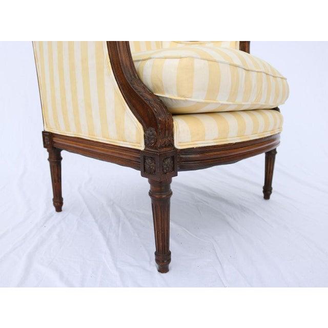 Louis XVI Style Striped Upholstery Walnut Bergère - Image 4 of 11