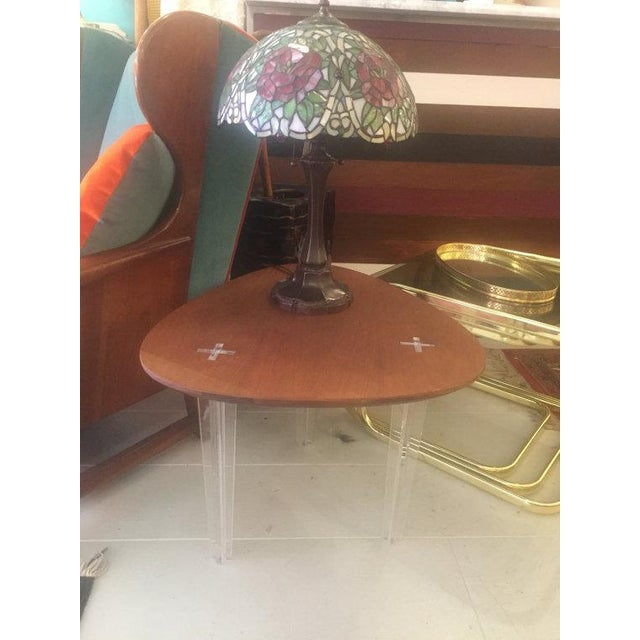 Mid-Century Heart Shape Coffee Table Lucite Legs - Image 4 of 4