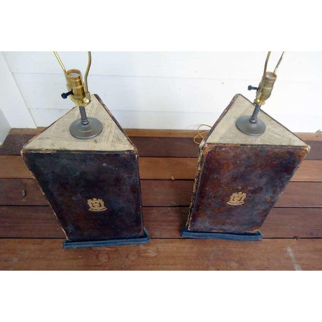 Traditional 18th Century Vintage Oxford University Leather Bookboard Lamps- a Pair For Sale - Image 3 of 5