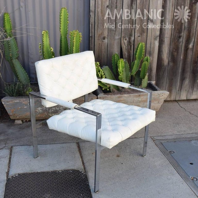 Chrome Milo Baughman for Thayer Coggin Tufted Armchair For Sale - Image 7 of 10