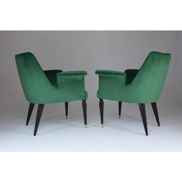 Art Deco 20th Century Pair of Italian Armchairs, 1940s For Sale - Image 3 of 9