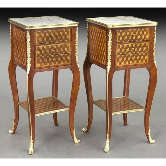 White Vintage French Louis XV Marquetry and Bronze Nightstands With Marble Top - a Pair For Sale - Image 8 of 8