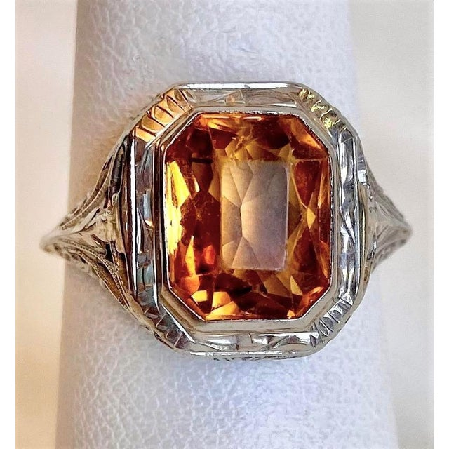 Antique 18k White Gold and Citrine Ring For Sale - Image 10 of 10