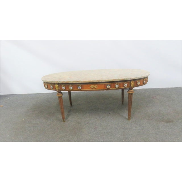 Stone Louis XVI Ormolu Porcelain Mounted Marble Top Coffee Table For Sale - Image 7 of 10