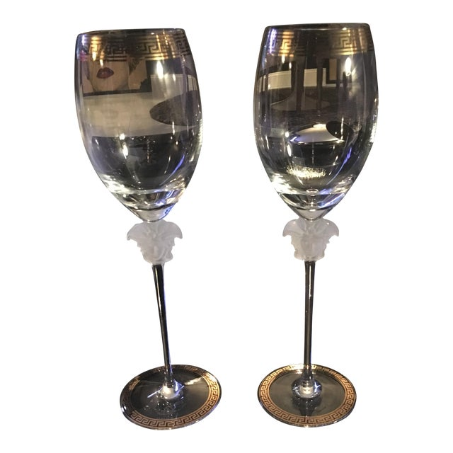 Gianni Versace Rosenthal 1993 Medusa d'Or Wine Glasses - A Pair - Image 1 of 4