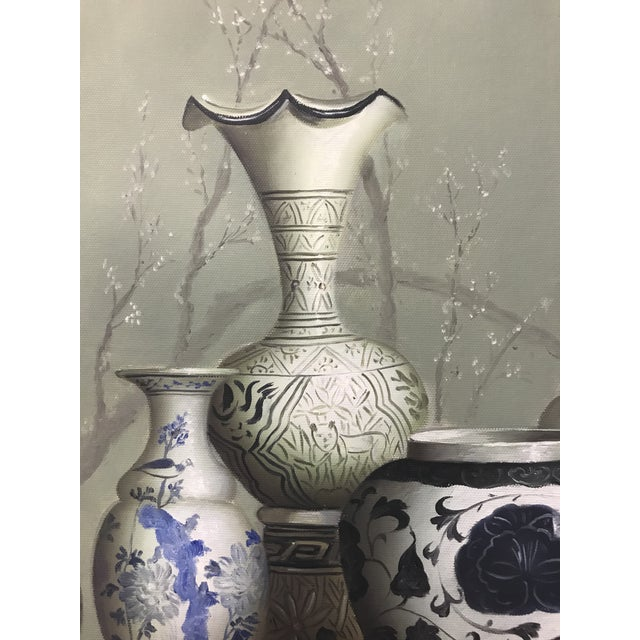 "Asian ""Chinese Vases on the Altar Table"" - Vintage Framed Oil Painting on Canvas For Sale - Image 3 of 7"