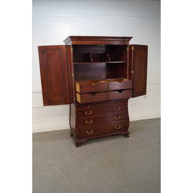 Henkel Harris mahogany bombe base bedroom armoire cabinet. High quality, 2 door armoire with bombe shaped base &...