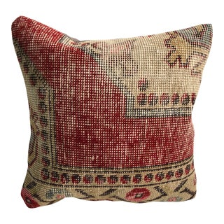Vintage Turkish Decorative Handmade Rug Pillow Case For Sale