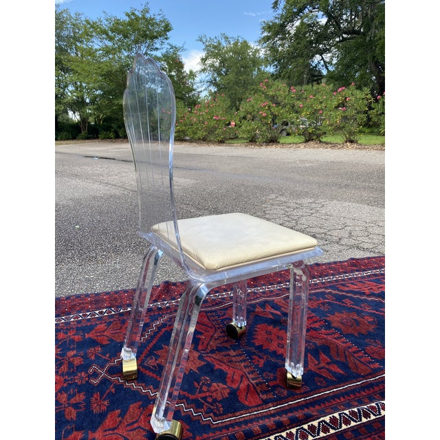 Vintage Lucite Fan Shell Back Chair by Hill Mfg For Sale - Image 9 of 10