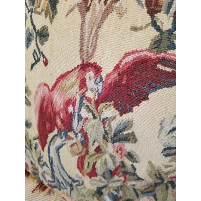 Textile Large Aubusson Style Parrot Pillow For Sale - Image 7 of 10