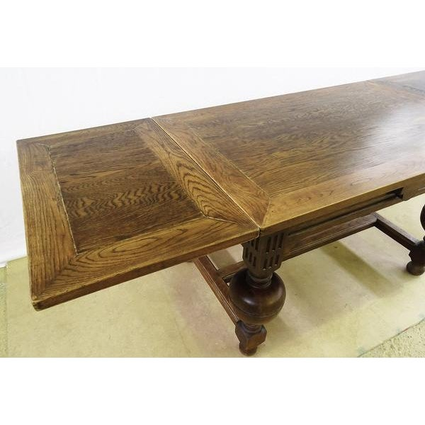 Extending Antique French Solid Oak Jacobean Style Dining Table For Sale - Image 12 of 13