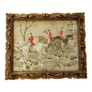 "Framed Vintage Wallpaper ""English Equestrian Hunting Scene"" in Gilt Gold Wood Frame For Sale"