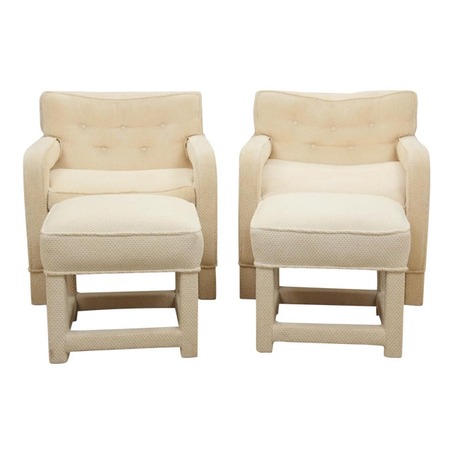 Milo Baughman Attributed Upholsted Armchairs and Ottomans, Set of 4 - Image 1 of 8