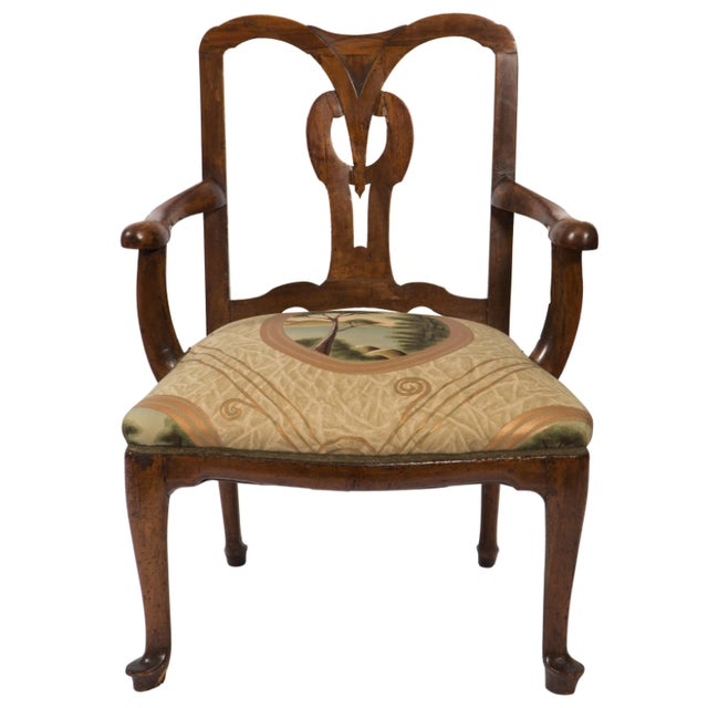 18th Century Vintage Walnut Italian Open Back Armchair For Sale - Image 13 of 13