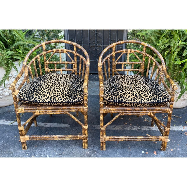 Early 20th Century Regency Style Bamboo Barrel Chairs W Cheetah Cushions - a Pair For Sale - Image 5 of 5