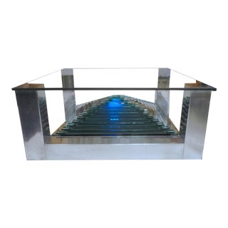 Mirror Ziggurat in an Aluminum Base Coffee Table For Sale