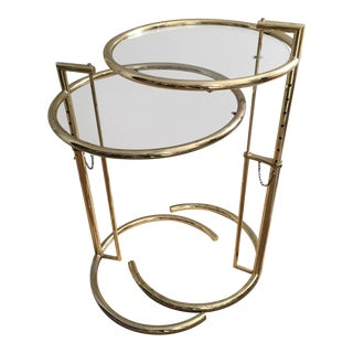 Vintage Eileen Gray Style Brass Side Tables - a Pair